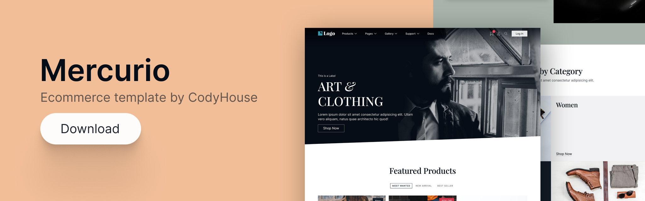Mercurio, ecommerce template by CodyHouse